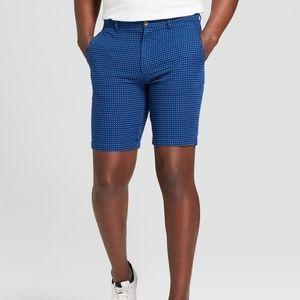 "Men's 9"" Flat Front Blue Dobby Shorts"
